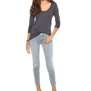 Mother The Vamp stripe distressed jean.